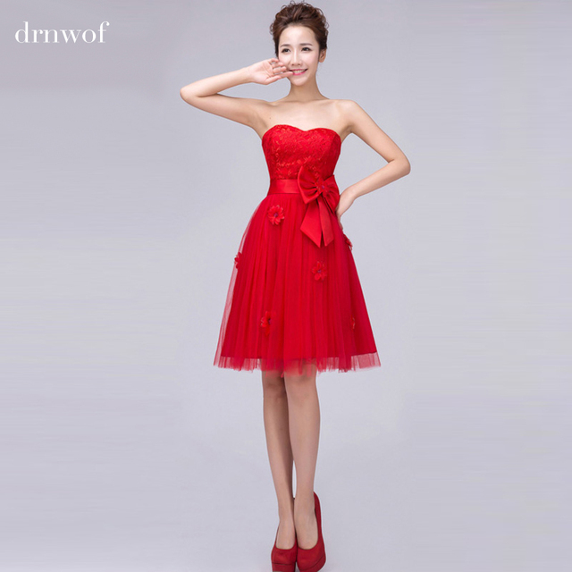 c09a34c890e71 Cheap Short Lace Strapless Bridesmaid Dresses 2017 New Fashion Women Party  Ball Gown Prom Dress Color