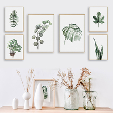Bianche Wall Modern Simple Abstract Green Big Leaves Canvas Painting Art Print Poster Image Mural Personality Home Decoration