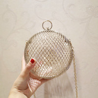 Hollow Metal Ball women shoulder bag gold Cages Women Round Clutch bag Evening Ladies Luxury Wedding Party Bags CrossBody Purse