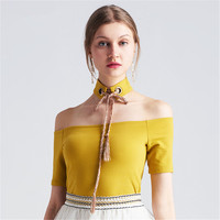 Sexy New Women tops fashion Shirts ice cream yellow color halter slash neck off the shoulder casual shirt for ladies