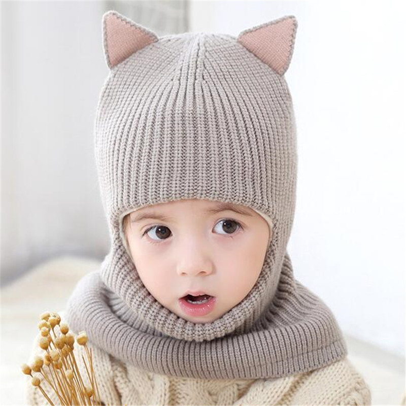 New Crochet Baby Hat With Cat Ear Baby Hat With Hooded Scarf Autumn