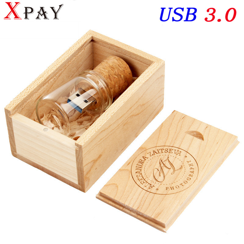 Jaster New Creative Fashion Usb Messenger Memory Stick Glass Bottle Drift Wooden Out Of The Cork 16gb 32gb Usb2.0 Wedding Commem External Storage