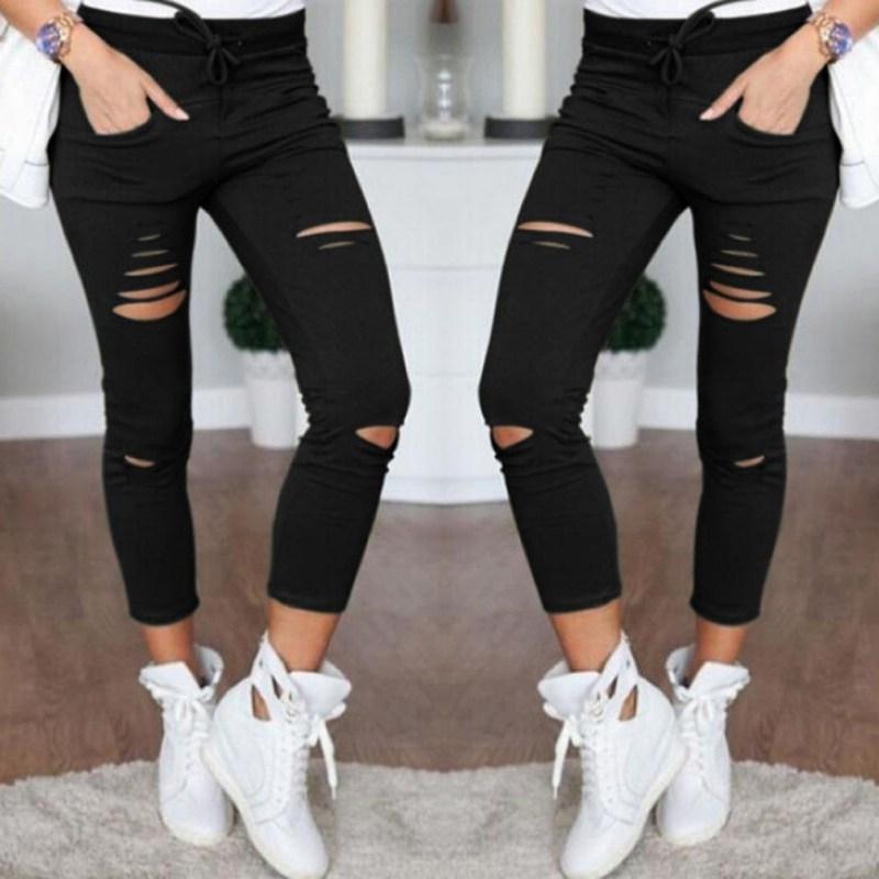 High Waist  Thin Pants Capris Leggings Female Hole Plain Weave Pencil Pants Casual Sweatpants