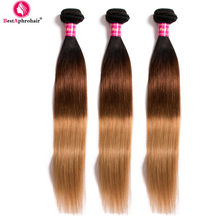 Brazilian Hair Weave Bundles Three Tone T1b/4/27 3 Bundles Straight Hair Tissage Cheveux Humain Non Remy Hair Extensions Aphro(China)