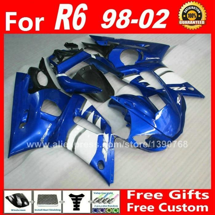 ABS fairings fit for YZF R6 1998 1999 2000 2001 2002 white blue 98 99 00 01 02 fairing kit Y83V