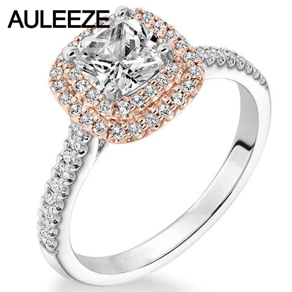 Double Halo 1ct Cushion Cut Simulated Diamond Engagement Wedding Ring 9k Two Tone Rose White Gold Rings For Women Fine Jewelry In From