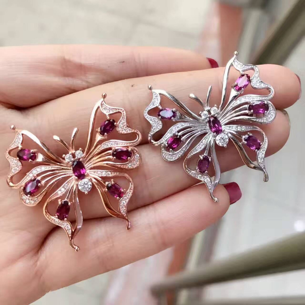 Natural red garnet gem brooch S925 silver Natural gemstone brooch trendy Elegant butterfly women party Office gift fine jewelry elegant artificial gem oval rhinestone leaf floral brooch for women
