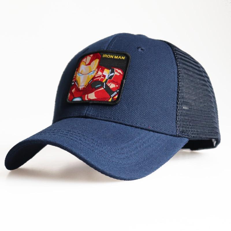 Mesh   Baseball     Cap   Snapback Ironman Men Boys Kids Hat Superhero Embroidery Sun Summer Sports Outdoor Accessory