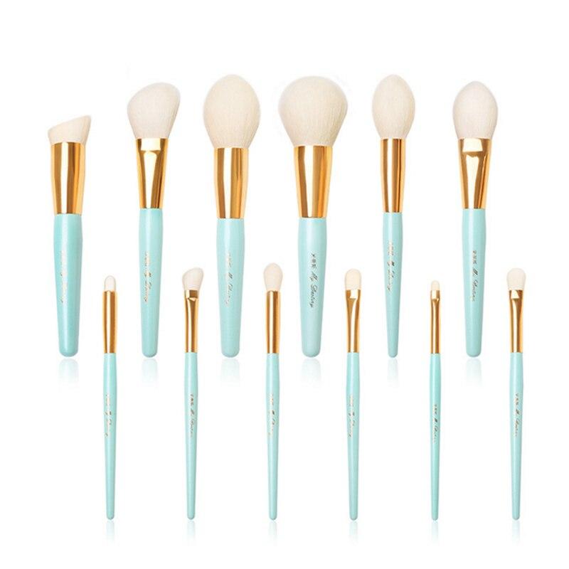 Pinceaux de maquillage haut de gamme 12 pièces ensemble cheveux de chèvre naturel lac bleu poudre Blush brosse fond de teint brosse correcteur Kit de brosse cosmétique