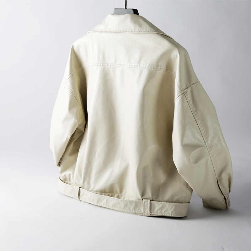 Бойфренд пальто кожаная куртка женское черное пальто мото jaquetas couro Куртки Куртка цепь панк блейзеры больших размеров 2019