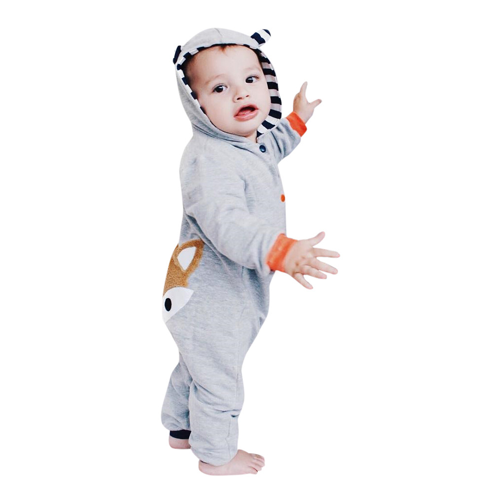 9d7bc4d01 Hooded Baby Jumpsuit with Cartoon Fox Design