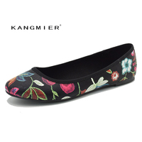 KANGMIER Shoes Women Flat Shoes Black Flowers Round Toe