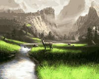 MaHuaf I117 Oil Painting By Numbers Animals Landscape River Mountains Deer Canvas Home Decor Unique DIY
