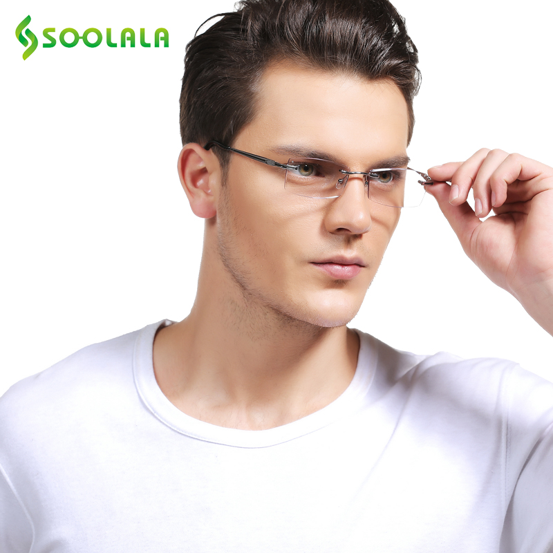SOOLALA High End Diamond Skæring Rimless Reading Briller Kvinder Mænd Anti-træthed Forstørrende Reading Glasses +1,0 1,5 2,5 til 4,0