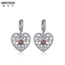 ShinyGem Silver Color Love Heart Drop Dangle Earrings Elegant Hollow Flower Cute Druzy Natural Stone For Women