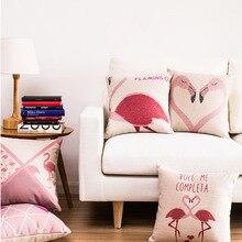 Розовый фламинго Подушка Обложка Льняная подушка Чехлы Стул / Автомобиль / Диван Подушка Обложка Главная Декоративная подушка