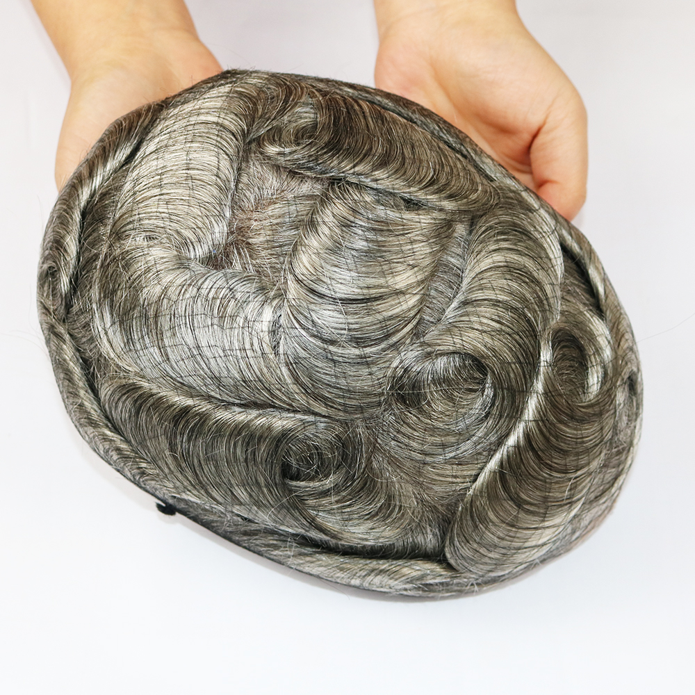grey human hair toupee