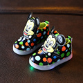Kids Mickey Shoes With Light Boys Led Sneakers New Spring Autumn Dots Lighted Fashion Girls soft Casual Shoes  size 21-31