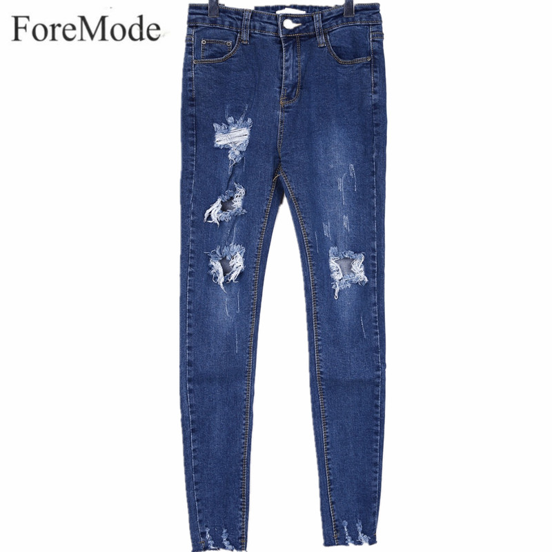 ForeMode 2017 Korean Women's New Autumn Pants Worn Personality Grasps The Grain Slim Jeans Casual Jeans skinny denim plant