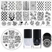 BORN PRETTY Stamp Template Polish Set 6ml Black White Polish Flower Leaf Tree Stamping Image Plate