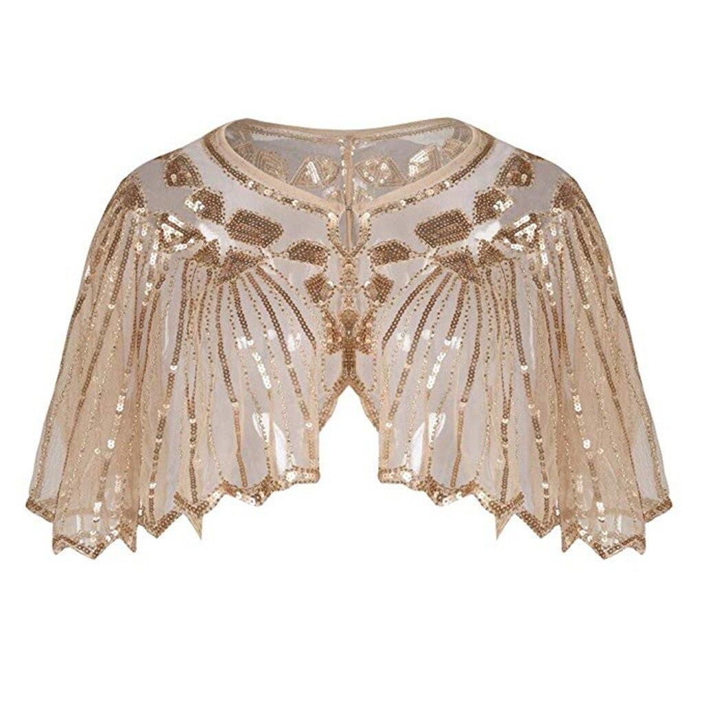 Women/'s 1920s Shawl Beaded Sequin Deco Evening Cape Bolero Flapper Dress Cover