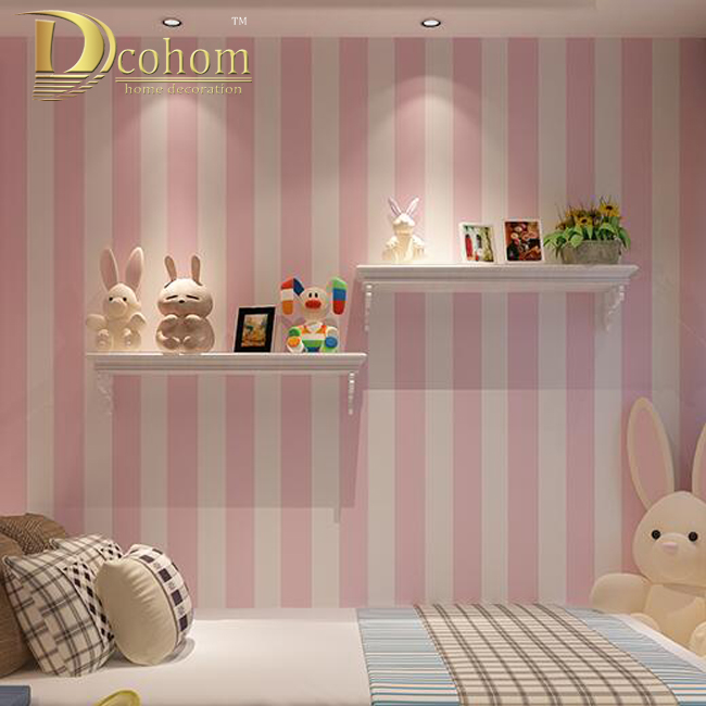 Online buy wholesale pink stripe wallpaper from china pink for Striped wallpaper living room ideas