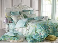 HOT Light Green Plant Leaf Printed Bedding Full Queen Size Comforter Sets Tencel Fabric 600TC Girl