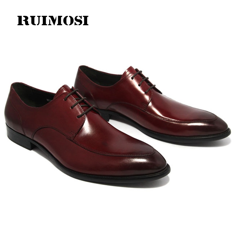 RUIMOSI New Arrival Formal Man Derby Dress Shoes Male Genuine Leather Designer Oxfords Luxury Brand Men's Handmade Footwear IH95