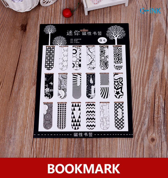 White and black magnetic bookmark , chevron / star / stripe / flower magnetic bookmarks for books , magnetic clips , page marker full page bookmark magnifier
