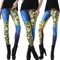 Digital print leggings for women sexy galaxy branch leggings blue&yellow splice leggings women pants slim trousers L3004