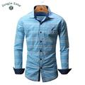 SELVA ZONA europea tamaño de Los Hombres 100% Camisas de algodón diseño de la camisa de Rayas de Manga Larga Para Hombre camisas 2017 NUEVA FM101