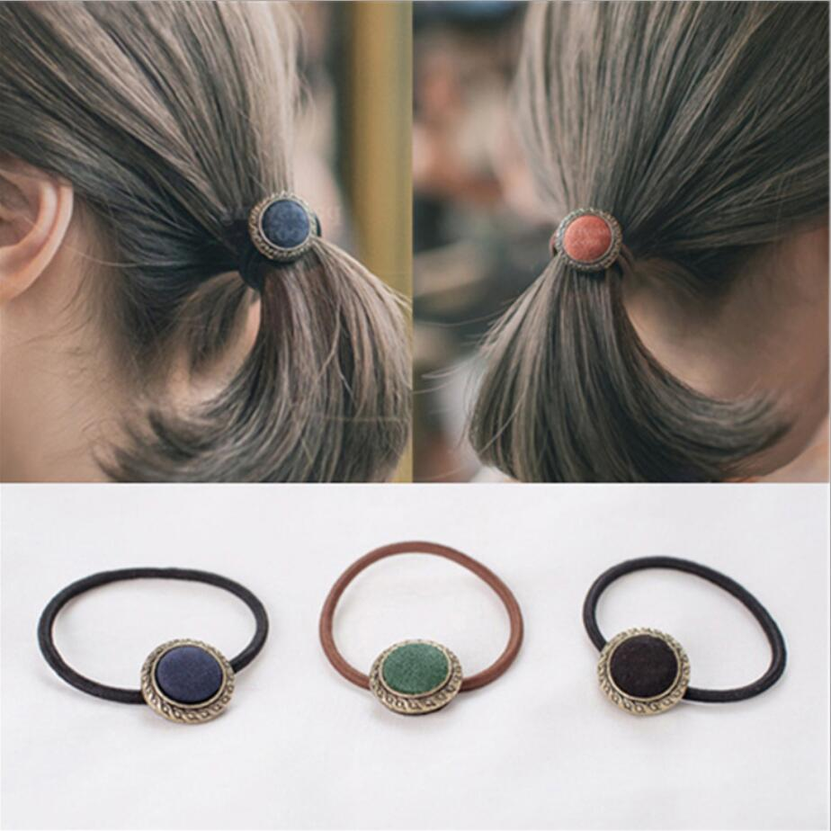 1PC New Korean Vintage Cloth Button High Elastic Hair Bands Rubber Bands Girls Hair Rope Headbands For Women Hair Accessories