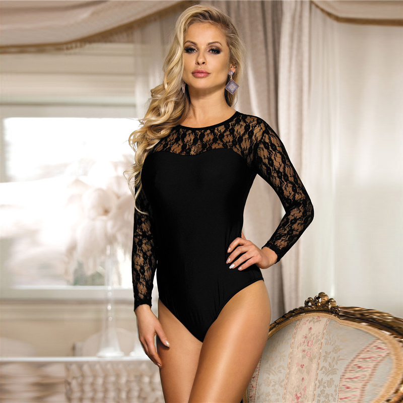 e6b9e87dbc Teddy Lingerie Plus Size Long Sleeve Lace Teddy 3XL Sheer Bodysuit New  Arrival Women Sexy Constumes Black Sexy Lingerie RS80372