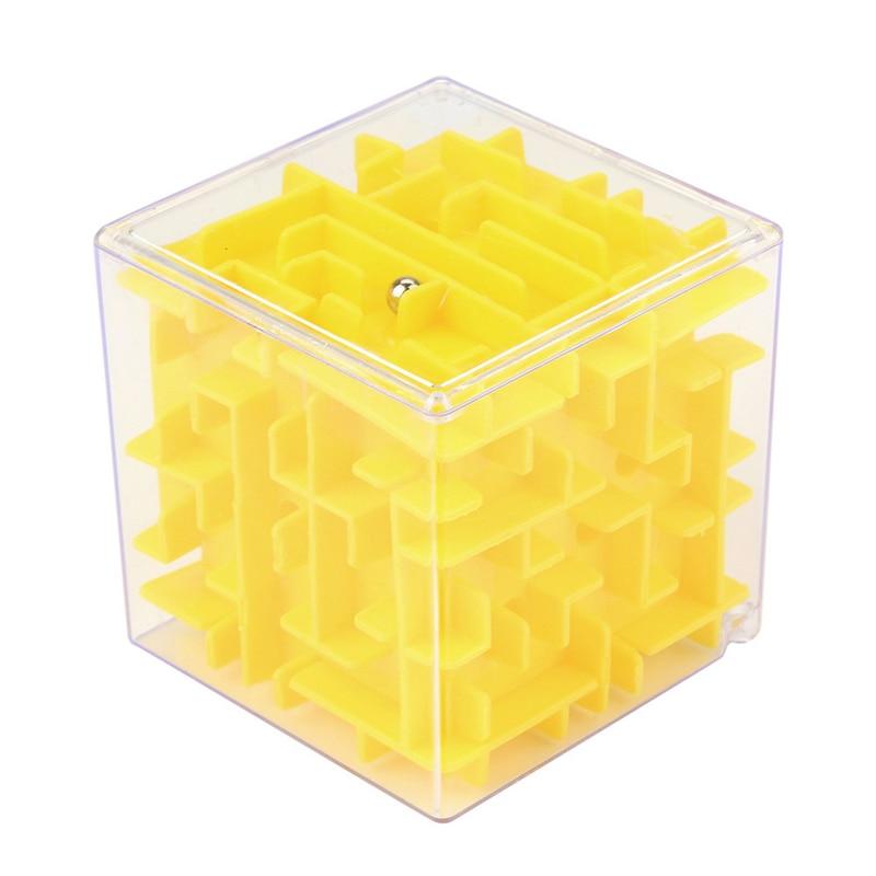 Yellow 3D Cube Puzzle Maze Toy Hand Game Case Box Fun Brain Game Challenge Fidget Kids Toys For Children Intelligent Improvement