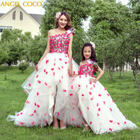 Родитель детская одежда детская принцессы для сцены для девочек Костюмы Свадьба День рождения платье мамы вечернее платье платья для мамы