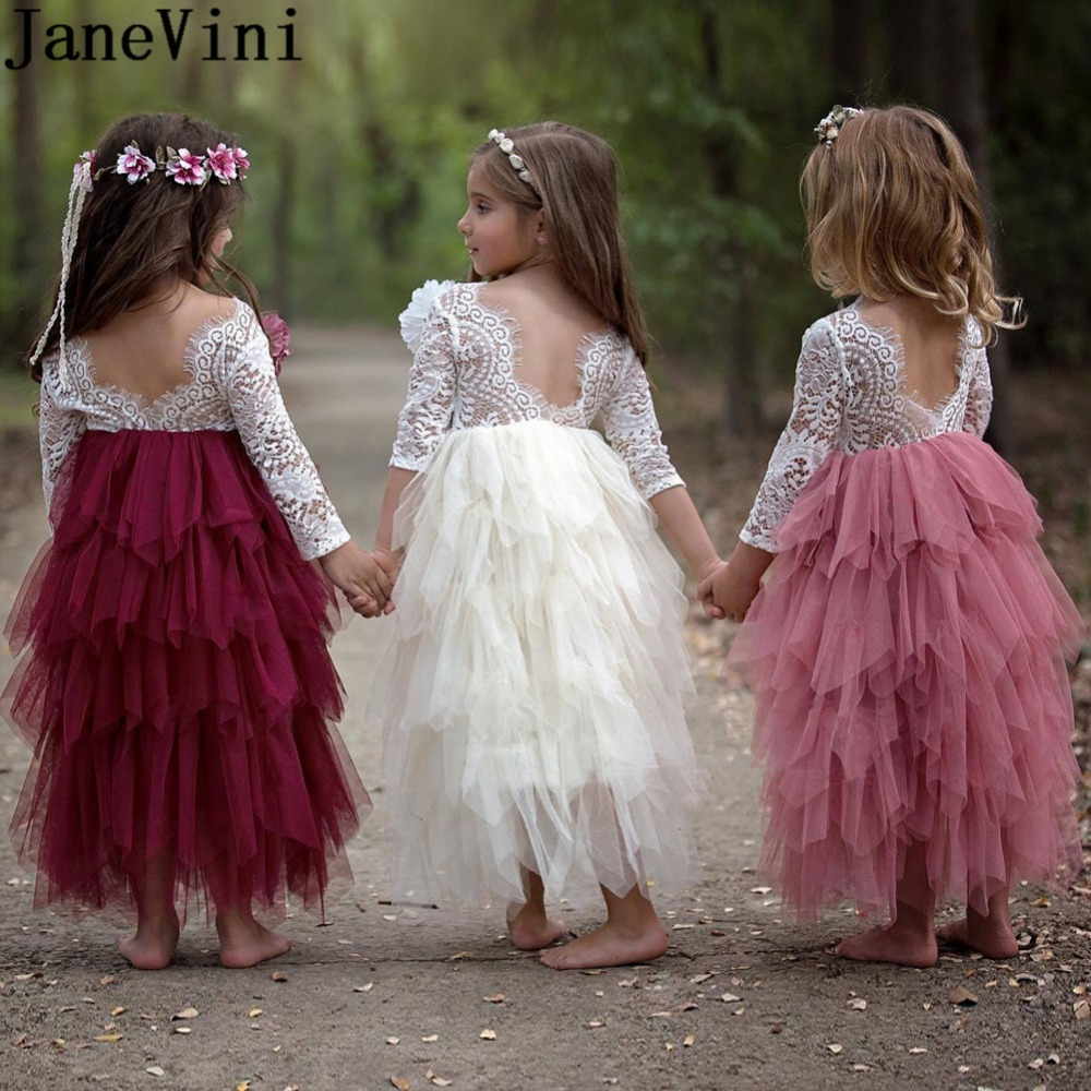 JaneVini Vintage Lace Long Sleeves   Flower     Girls     Dresses   For Weddings Kids Pageant Gowns Tiered Tulle White Communion   Dress   2019