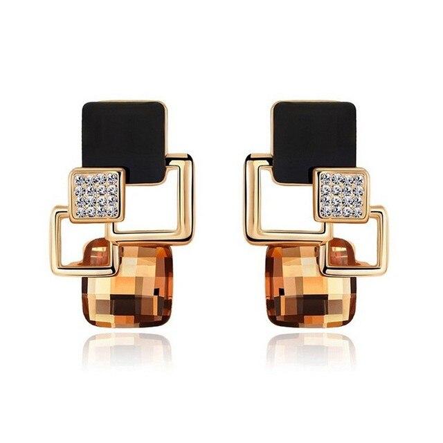 Wholesale New Brand Earrings Jewelry High-end Fashion Temperament Geometry  Square Crystal Charm Stud Earrings For Woman Brincos fe5f0b46b8c9