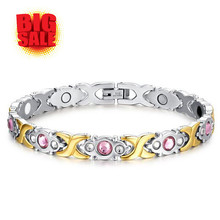Stainless Titanium Steel Magnet Bracelet Women Health Pink Crystal Bangles Gold Plating For Woman Female Pulceras Free Shipping
