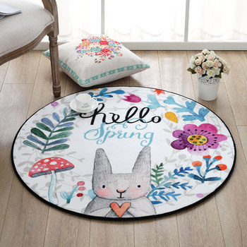 Hand-Painted Rabbit Round Carpets For Living Room Soft Velvet Children Bedroom Rugs And Carpet Computer Chair Area RugFloor Mat cute carpets