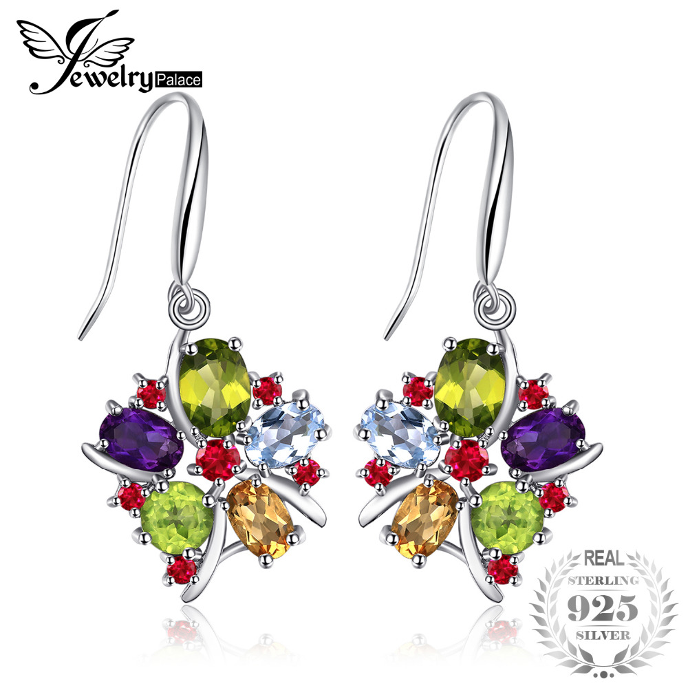 JewelryPalace Flower Multicolor 6.2ct Natural Amethyst Garnet Peridot Citrine Blue Topaz Dangle Earrings 925 Sterling Silver