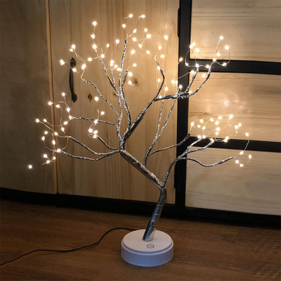 LED Copper Wire Tree Lamp USB Charging Night Light For Home Decoration Without Battery