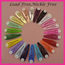 50PCS 5.0cm 2  Assorted Colors Round Head Plain Metal Snap Hair Clips with pads at nickle free and lead free,BARGAIN for BULK