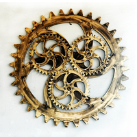 Vintage Industrial Wind Wood 100cm Golden Gear Mural Bar Art Office Gear Wall Mount Creative Ornaments