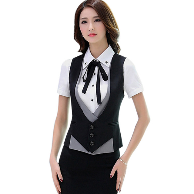 Womens Vest Office Work Wear 2018 Fashion Business Woman Formal Slim Vest  Coat Ladies Patchwork Jackets Plus Size Women s Suits e20f1946c1