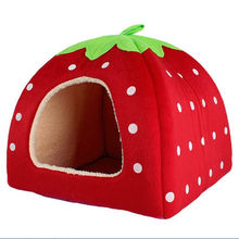 New Pet Supplies Dog House Soft Strawberry Cat Rabbit Bed House Kennel Doggy Warm Cushion Basket for Puppy Home