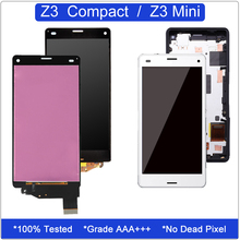 for Sony Xperia Z3 Compact Display Touch Screen Digitizer Assembly D5803 D5833 LCD for Sony Z3 Mini Screen Replacement + Frame tempered glass 100% tested oem for sony xperia z3 mini lcd z3 compact lcd display touch screen digitizer assembly b