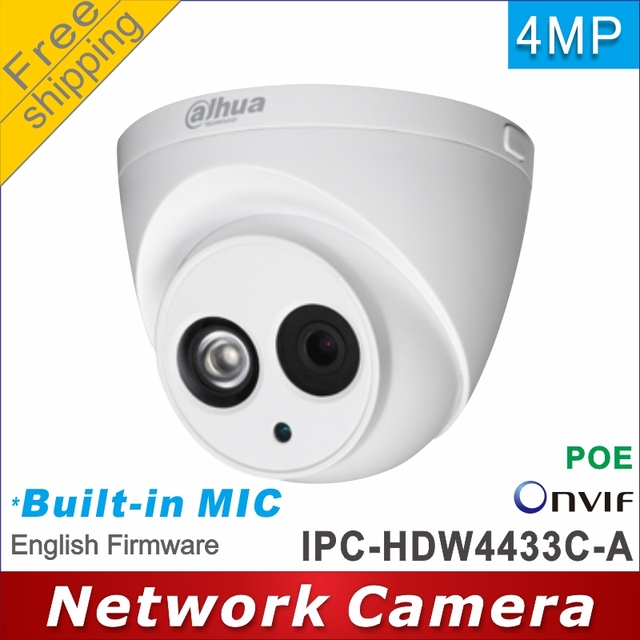Free shipping Dahua IPC HDW4433C A replace IPC HDW1431S Built in MIC HD 4MP network IP Camera cctv Dome Camera Support POE P2P