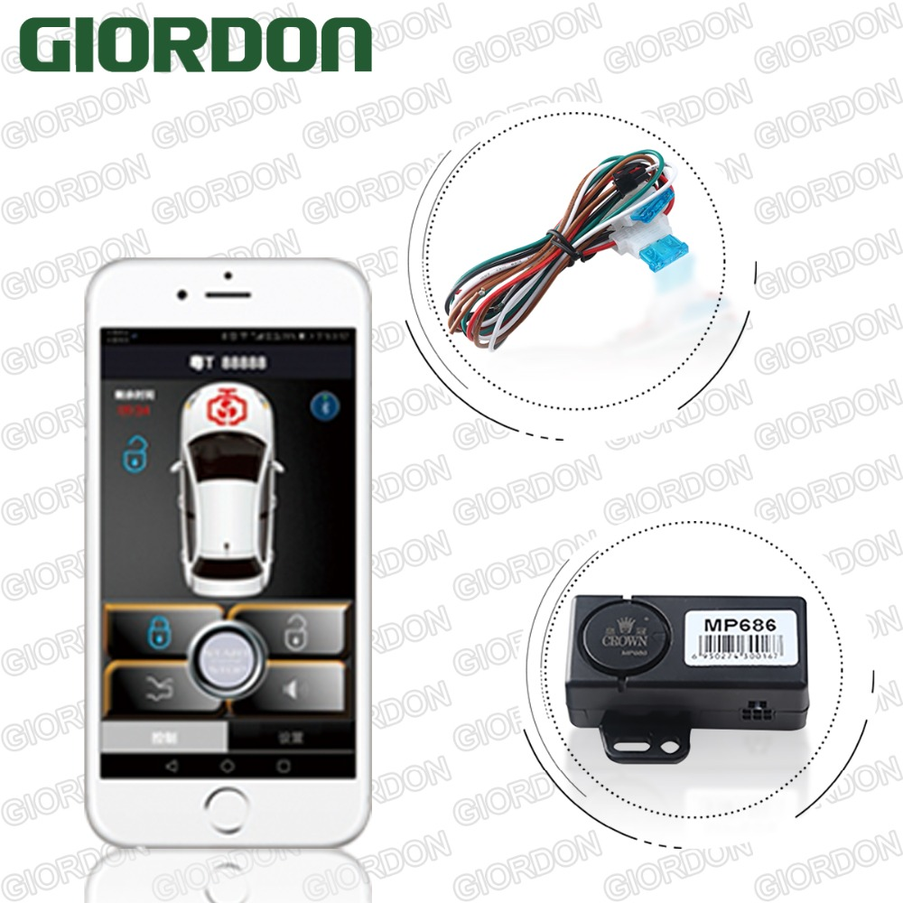 Crown PKE Smart Key Car Alarm System With Remote Engine Automatic locking after leaving Smartphone Remote Start Stop
