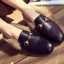 2017 BIG size 43 Career horsebit Genuine Leather Shoes Women Flats luxury designer brand low Heel Rabbit hair fur winter warm gg