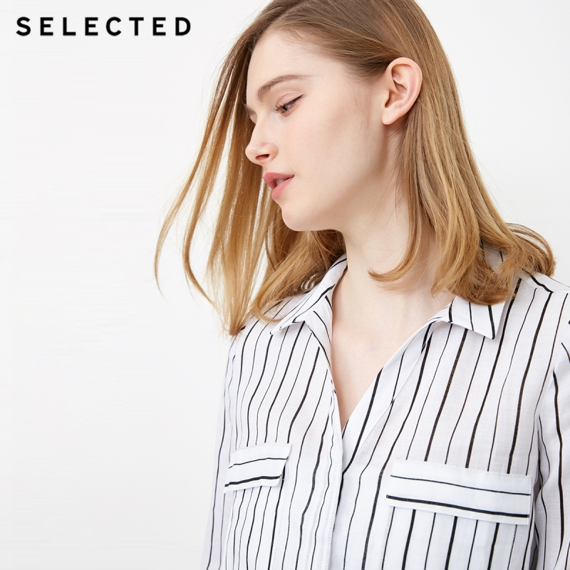 SELECTED Women's Roll-up Sleeves Striped Turn-down Collar Long-sleeved Shirt S|418205506 4